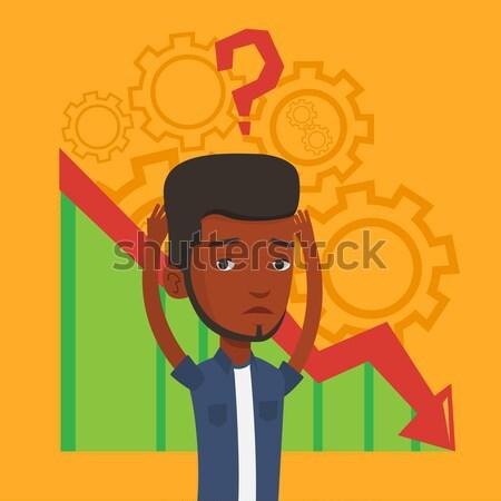 Becsődölt fej diagram lefelé kérdőjel fölött Stock fotó © RAStudio
