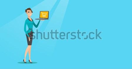 Diák táblagép kaukázusi tart mutat mutatóujj Stock fotó © RAStudio