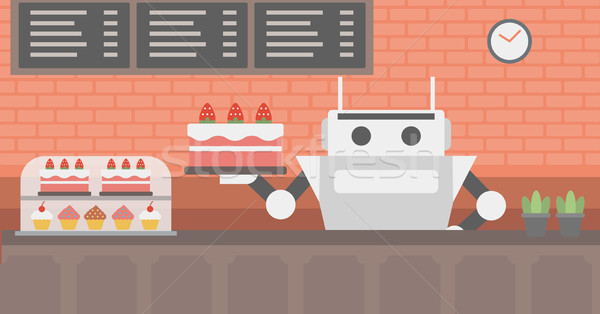 Robot waiter working at pastry shop. Stock photo © RAStudio