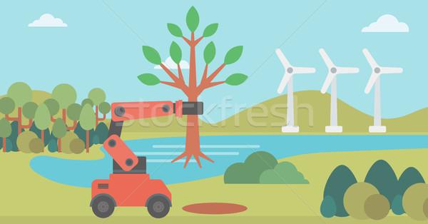 Robot machine plants a big tree. Stock photo © RAStudio