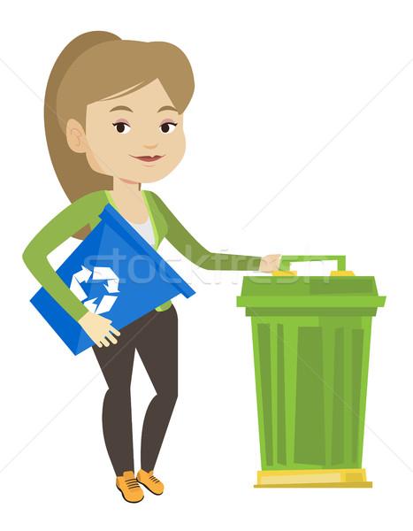 Woman with recycle bin and trash can. Stock photo © RAStudio