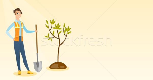 女性 植物 ツリー 白人 立って ストックフォト © RAStudio
