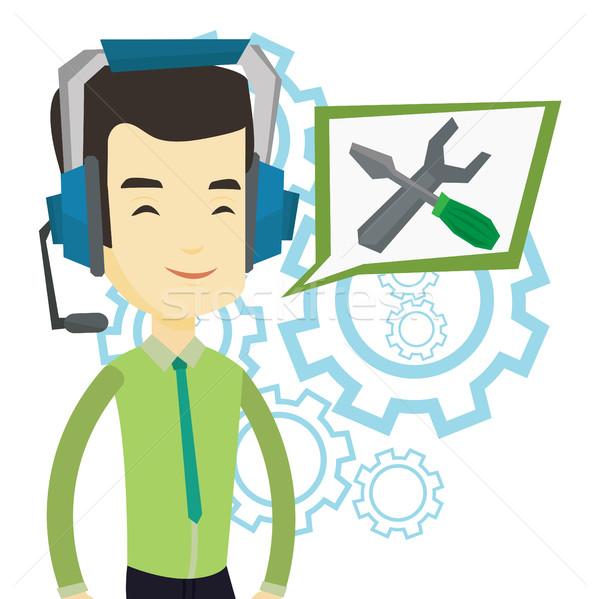 техническая поддержка оператор азиатских речи квадратный отвертка Сток-фото © RAStudio