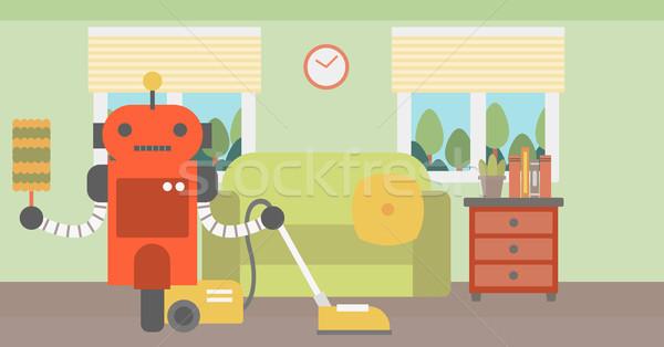 Robot schoonmaken tapijt stofzuiger huiselijk persoonlijke Stockfoto © RAStudio