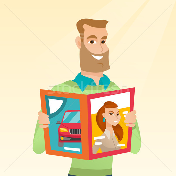 Man reading a magazine vector illustration. Stock photo © RAStudio