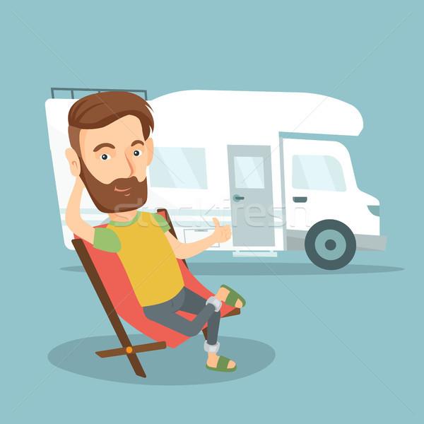 Férfi ül szék lakókocsi furgon hipszter Stock fotó © RAStudio