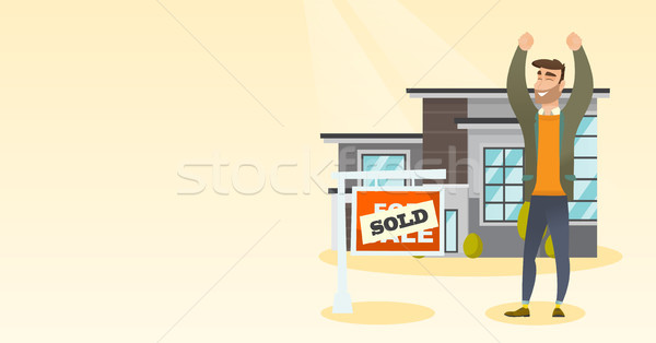 Real estate agent with sold placard. Stock photo © RAStudio