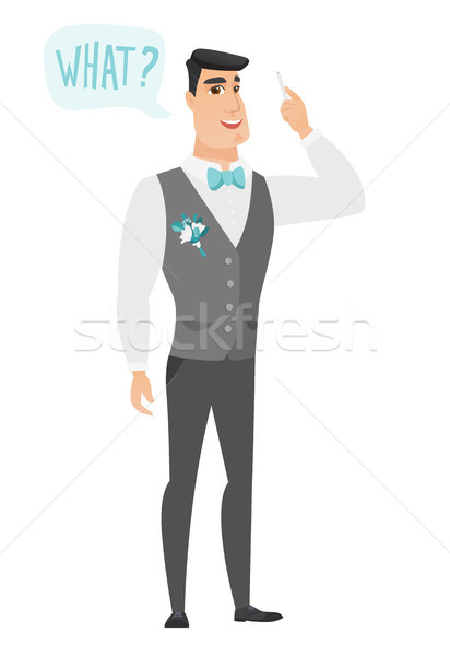 Groom with question what in speech bubble. Stock photo © RAStudio