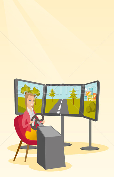 Young woman playing video game with gaming wheel Stock photo © RAStudio