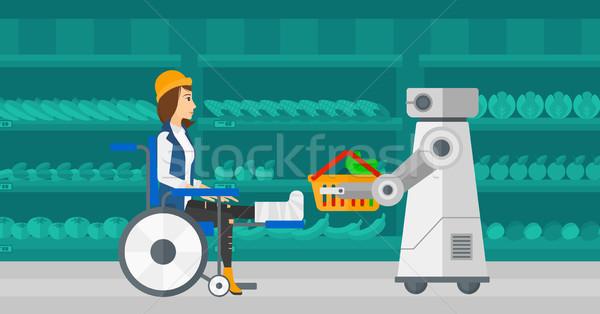 Robotachtige helper werken supermarkt kiezen Stockfoto © RAStudio