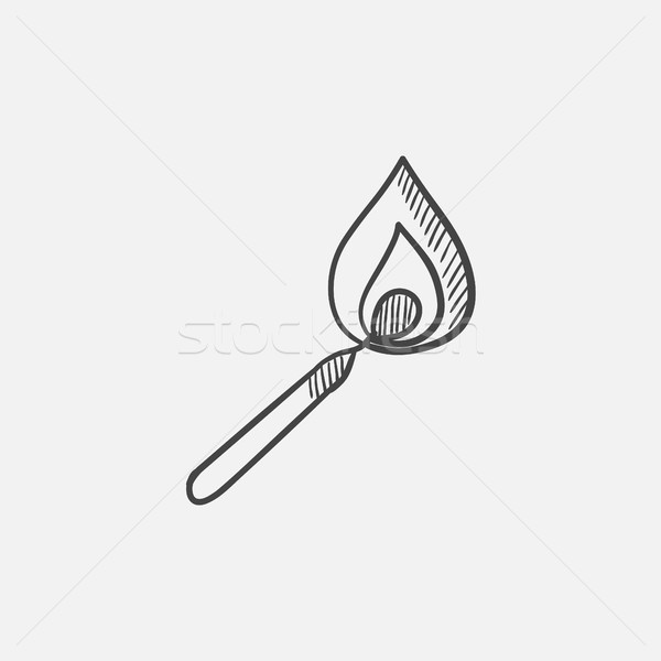 Burning match  sketch icon. Stock photo © RAStudio