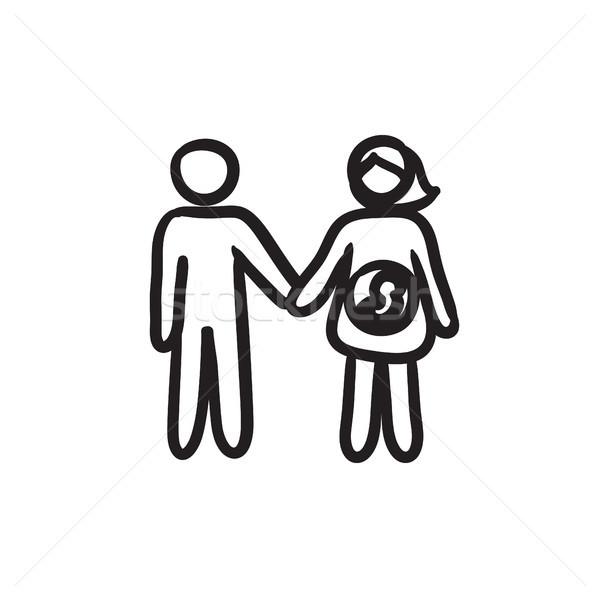 Férj terhes feleség rajz ikon vektor Stock fotó © RAStudio
