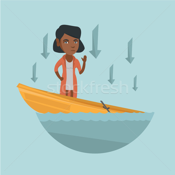 African business woman standing in sinking boat. Stock photo © RAStudio