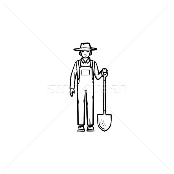 Farmer with shovel hand drawn sketch icon. Stock photo © RAStudio