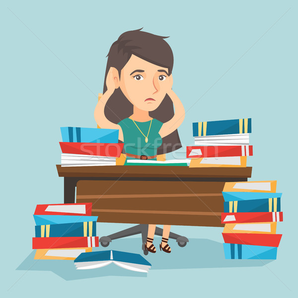 Desesperado estudante estudar muitos livros didáticos jovem Foto stock © RAStudio
