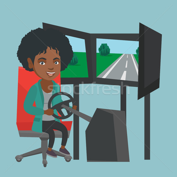 Foto stock: Jovem · africano · mulher · jogar · carro · corrida