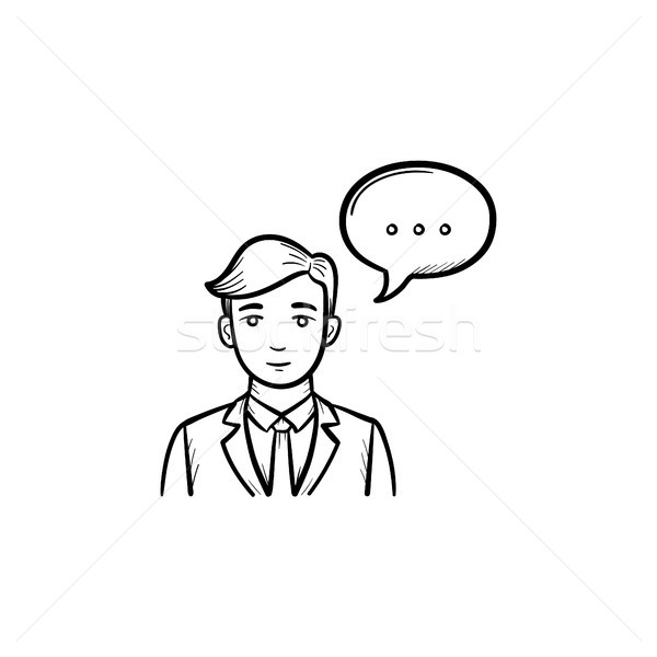 Speaking person hand drawn sketch icon. Stock photo © RAStudio