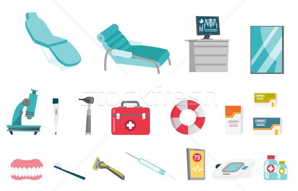 Equipamentos médicos vetor desenho animado ilustrações conjunto coleção Foto stock © RAStudio