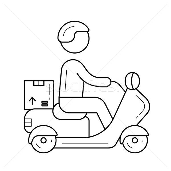 Delivery boy vector line icon. Stock photo © RAStudio