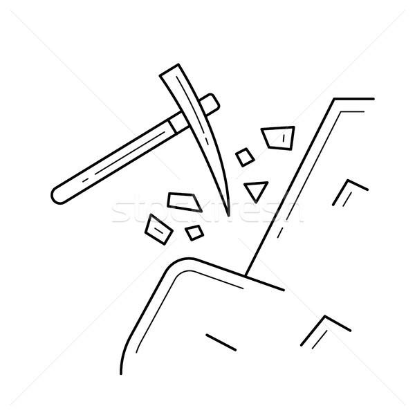 Pickaxe vector line icon. Stock photo © RAStudio