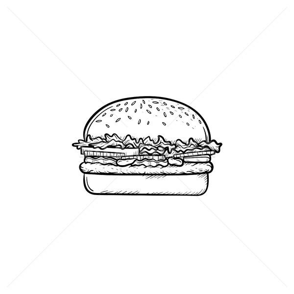 ストックフォト: ハンバーガー · 手描き · スケッチ · アイコン · いたずら書き