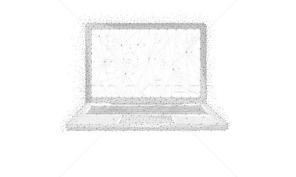 Polygon laptop isolated on white background. Stock photo © RAStudio