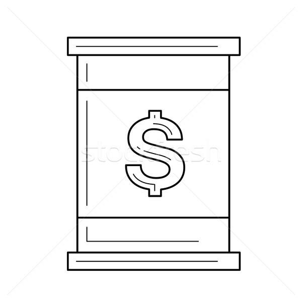 Ropa naftowa baryłkę wektora line ikona znak dolara Zdjęcia stock © RAStudio