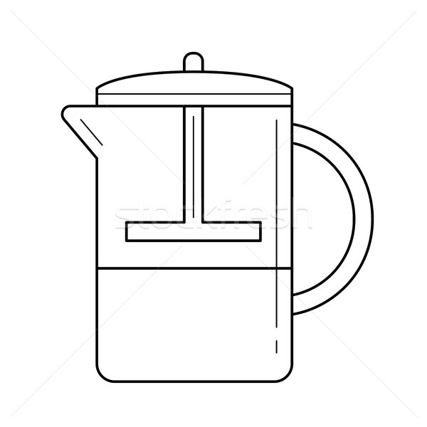 French press vector line icon. Stock photo © RAStudio