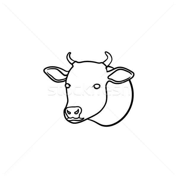 Vaca cabeça esboço ícone Foto stock © RAStudio
