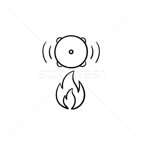 Stock photo: Fire alarm hand drawn sketch icon.