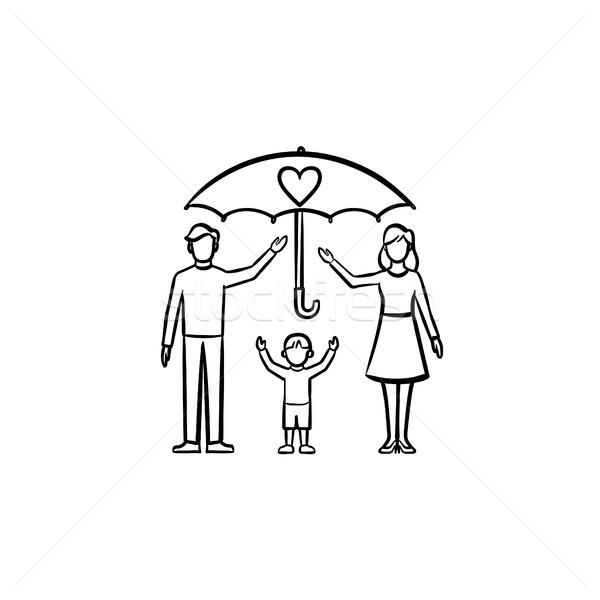 Verzekering familie schets icon schets Stockfoto © RAStudio