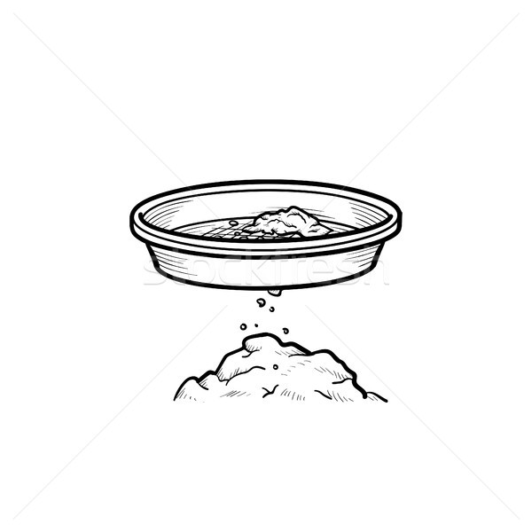 Gold mining pan with auriferous sand hand drawn outline doodle i Stock photo © RAStudio