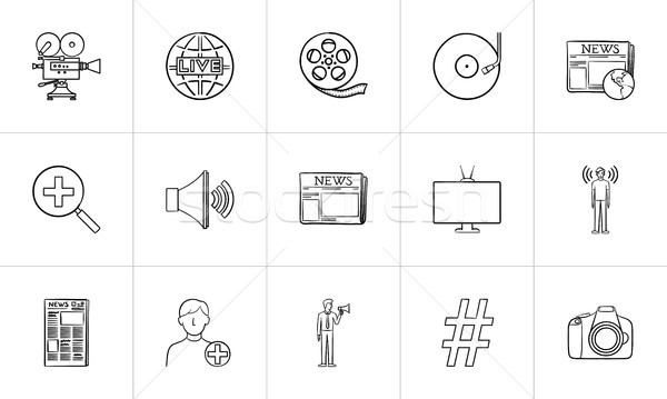 Media hand drawn sketch icon set. Stock photo © RAStudio