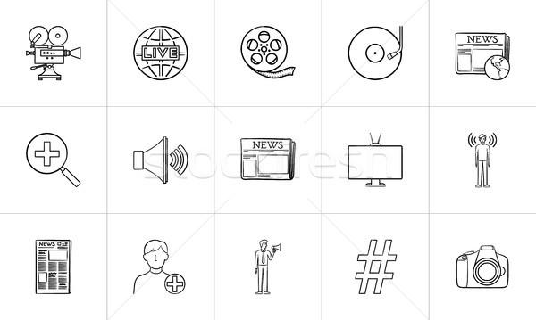 Stock photo: Media hand drawn sketch icon set.