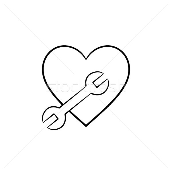 A heart shape with a wrench hand drawn outline doodle icon. Stock photo © RAStudio