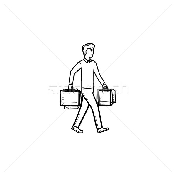 Shopper with shopping bags hand drawn outline doodle icon. Stock photo © RAStudio