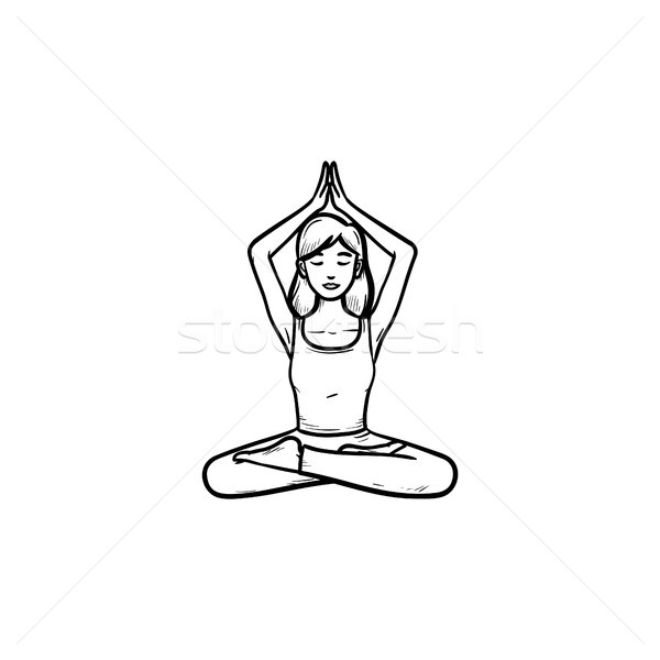Stock photo: Girl in lotus pose with her hands up hand drawn outline doodle icon.