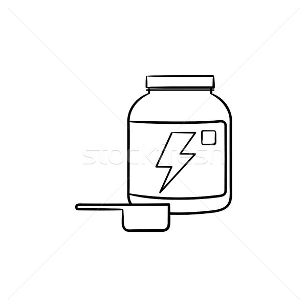Sport nutrition container hand drawn outline doodle icon. Stock photo © RAStudio