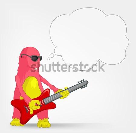 Engraçado monstro estrela do rock isolado cinza Foto stock © RAStudio