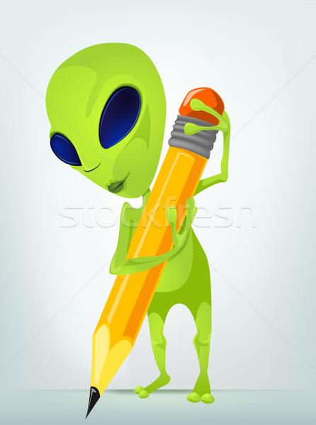 Engraçado alienígena isolado cinza gradiente Foto stock © RAStudio