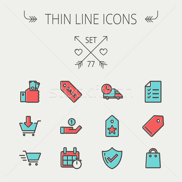 Business shopping thin line icon set Stock photo © RAStudio