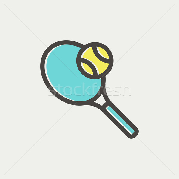 Tennis racket and ball thin line icon Stock photo © RAStudio