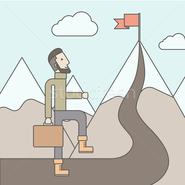 The Man Climbing the Mountain of Success Stock photo © RAStudio