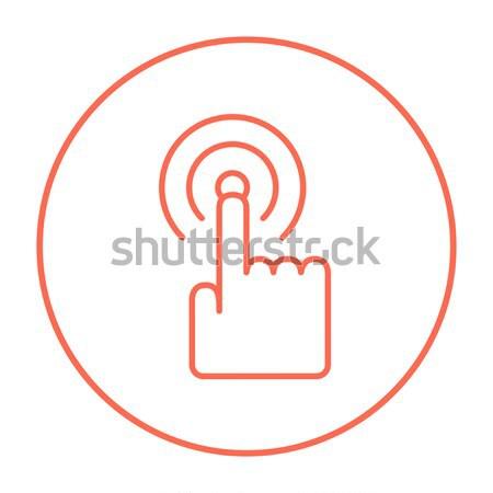 Finger pressing circles thin line icon Stock photo © RAStudio