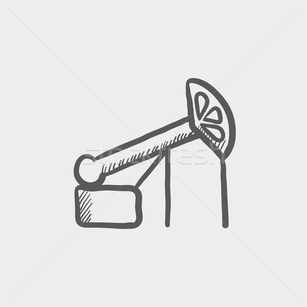 Pump jack oil crane sketch icon Stock photo © RAStudio