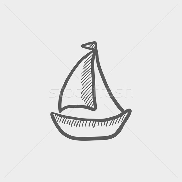 Stock photo: Sailboat sketch icon