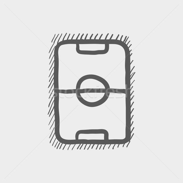 Campo de futebol esboço ícone teia móvel Foto stock © RAStudio