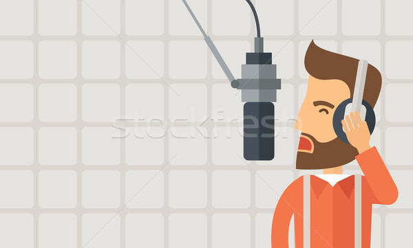 作業 ラジオ 駅 白人 ヘッドホン マイク ストックフォト © RAStudio