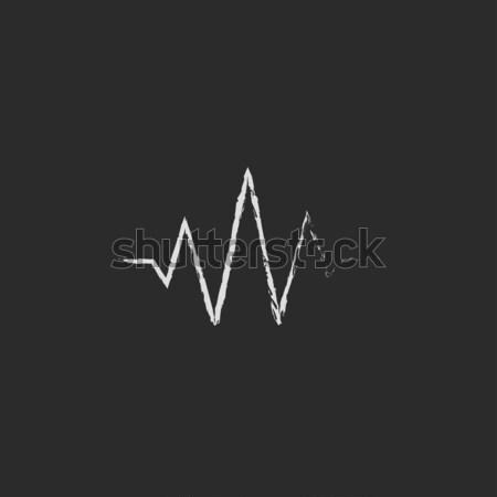 звуковая волна икона мелом рисованной доске Сток-фото © RAStudio
