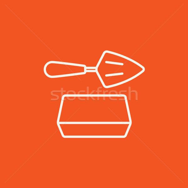 Espátula ladrillo línea icono web móviles Foto stock © RAStudio